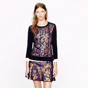 J. Crew Metallic Floral Embroidered Sweater Blouse